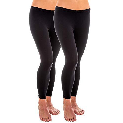 HERMKO 1720 2er Pack Damen Legging aus 100% Bio-Baumwolle, Leggin, Farbe:schwarz, Größe:52/54 (XXL)
