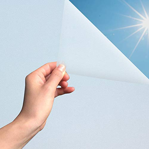MARAPON® Fensterfolie selbsthaftend Blickdicht in weiß [75x200 cm] inkl. eBook mit Profitipps - Milchglasfolie mit sehr hohem Sichtschutz - Sichtschutzfolie statisch haftend für Bad & WC