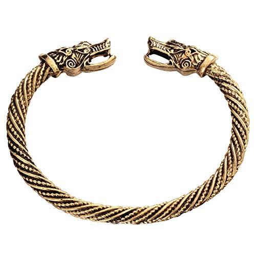 RQZQ Körper Kette Altgold Silber Mode Punk Drachen Manschette Armband für Frauen Männer Armreifen Charms Armbänder Männer Schmuck Geschenke