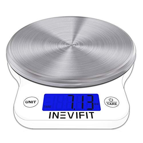 INEVIFIT Escala Digital DE Cocina, Escala de Alimentos multifunción Altamente precisa Blanco Grande