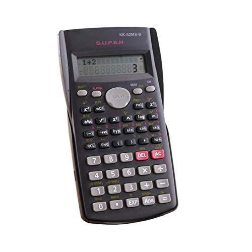 Hotaden Calculadora científica matemáticas Pantalla LCD Función Pruebas de los Estudiantes de la calculadora portátil para el hogar Oficina de la Escuela Negro