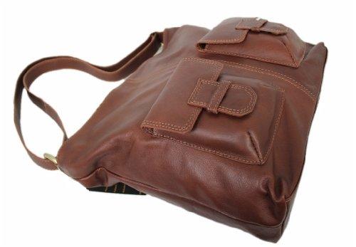 Leatherworld Ledertasche Schultertasche Leder Umhängetasche Posttasche 05385