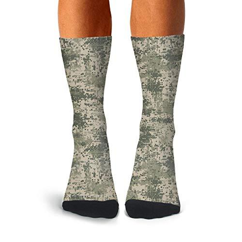 Men Green Army Desert Digital Camo Socks Extra Thick Winter Cozy Soccer Socks