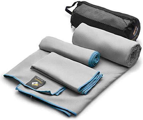 OlimpiaFit Microfiber Towels - Quick Dry 3 Size Pack (51inx31in, 30inx15in, 15inx15in) Camping, Sports, Beach, Backpacking, Gym,...