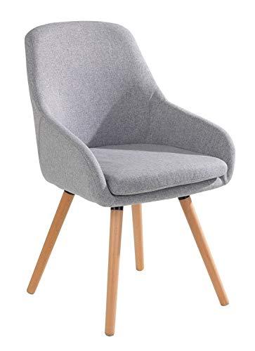 Home4You Stuhl Esszimmerstuhl Küchenstuhl   Grau   Buchenholz   Webstoff