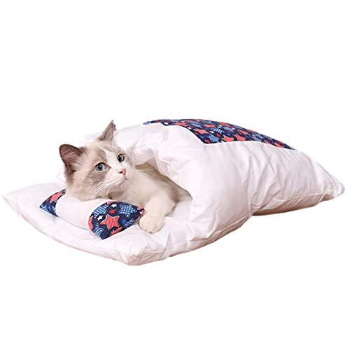 TLM Toys Saco de dormir para gatos, mullido invierno cerrado, extraíble y lavable, para mascotas, cama para gatos, casa para perros, casa de animales para gatos y perros