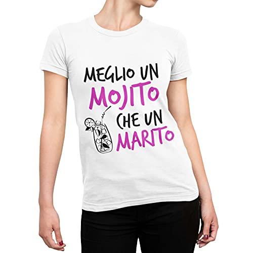 CHEMAGLIETTE! T-Shirt Divertente Donna Maglia Addio al Nubilato Meglio Un Mojito Che Un Marito Tuned, Colore: Bianco, Taglia: S