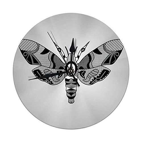 Runde Wanduhr Motte Acherontia Atropos Zeichnung schraffierte strukturierte Teile auf Flügeln Tattoo Vorlage dekorativ für Zuhause, Büro, Schule 9.8IN