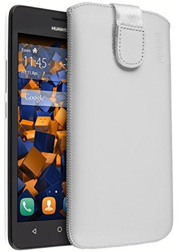 mumbi Echt Ledertasche kompatibel mit Huawei Y635 Hülle Leder Tasche Hülle Wallet, Weiss