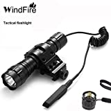 WINDFIRE Tactical Flashlight Cree Xm-l T6 Led 1200 lm 3.7-18V 1 Mode Light Tactical Flashlight Torch with Pressure Switch/Tactical Switch and 45°Side Picatinny Mount Rail Offset Ring Side Mount