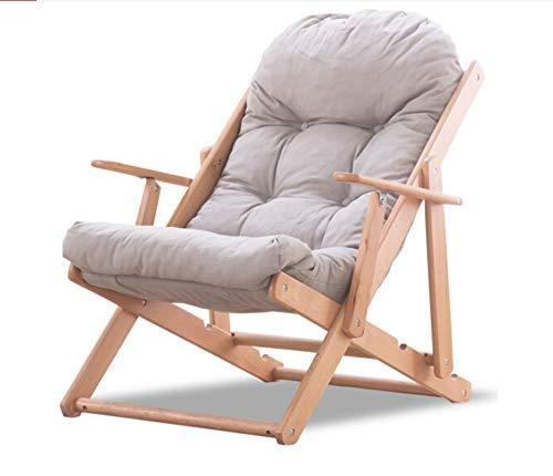 Jambala Solid Wood Recliner Lounge Chair Lunch Break Beach Chair Folding Portable Balcony Chair Sofa Chair 86x90x42cm