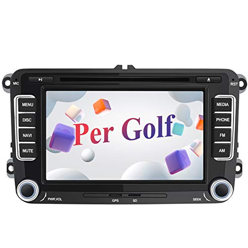 AWESAFE Autoradio 2 Din per VW Volkswagen Golf 5 6 R32 GTI MK5 MK6, 7 Pollici Car Radio con Navigatore Supporta la funzione Comandi al volante Bluetooth Vivavoce CD DVD SD RDS DAB+ Mirror Link