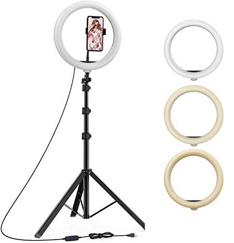 Venganza 10 Inches Big LED Ring Light for Camera, Phone tiktok YouTube Video Shooting and Makeup, 10' inch Ring Light with 7 Feet Long Foldable and Lightweight Tripod Stand
