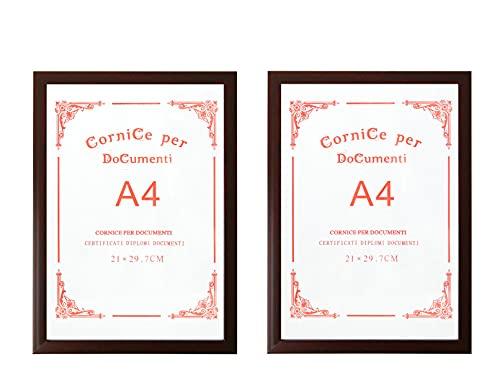 Cornice per Foto A4 Da Parete, Cornice per Documenti in Plastica 21 x 29.7 cm, Ideale per Certificati Diplomi Documenti, le Foto, Pubblicità Inquadrare il Foto, Confezione da 2 pezzi (Bordeaux)