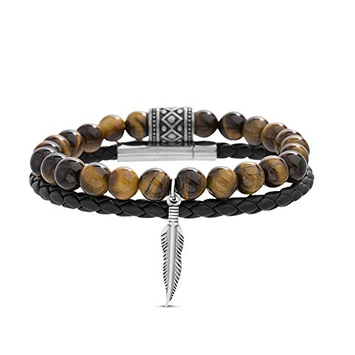 Steve Madden Stainless Steel Brown Beaded Feather Charm Braided Black Leather Stackable Bracelet for Men