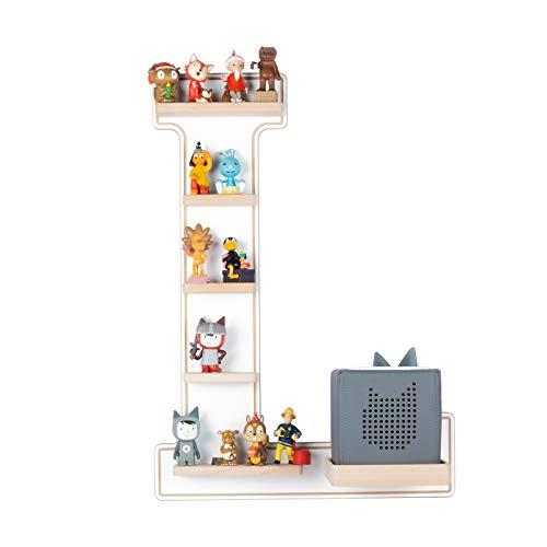 BOARTI das Original Kinder Regal Buchstabe L in Weiß - geeignet für die Toniebox und ca. 25 Tonies - zum Spielen und Sammeln