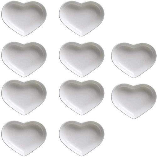 Plato de salsa de cerámica multiusos en forma de corazón Platos de condimento Plato de inmersión de sushi Platos de aperitivo Plato de servir Platos de plato (juego de 10)
