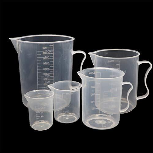 MYB Supplies - Set di 5 caraffe dosatrici graduate in plastica, 50 ml, 100 ml, 250 ml, 500 ml, 1000 ml, può essere utilizzato come misurino da cucina e misurino da laboratorio.