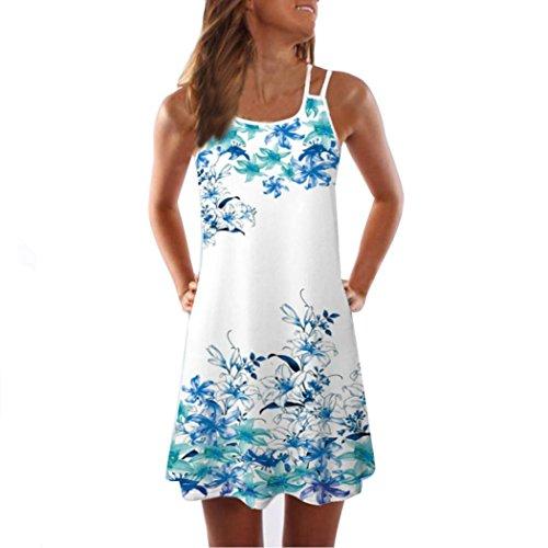 VEMOW Sommer Elegante Damen Frauen Lose Vintage Sleeveless 3D Blumendruck Bohe Casual Täglichen Party Strand Urlaub Tank Short Mini Kleid(Weiß 4, 40 DE/L CN)