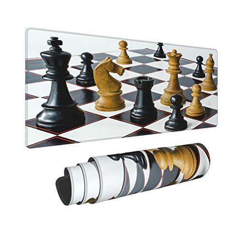Extra Groß Mauspad mit Genähten Kanten,XL-75 x 40 x 0.3cm,Schachspiel Internationales Schach,Schreibtisch Mat Personalisiert für Die Arbeit Spiel Büro Computer Laptop