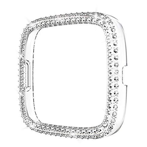 NICERIO Reloj de Diamantes de Imitación Cubierta Protectora Pantalla de Reloj Protector de Reloj Protector de Carcasa Accesorios Compatibles para Fitbit Versa 2 Series (Color Transparente)