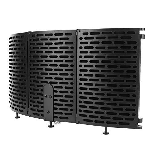 Uxsiya Cubierta de protección contra el viento, para micrófono, filtro de sonido plegable de alta densidad, multicapa, para escritorio