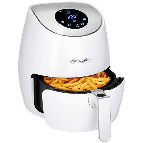 Monzana Heißluftfritteuse Digitales Touch-Display 3,6 L Ohne Öl Fett 6 Programme 1500 W Küche Fritteuse Heißluftofen Weiß