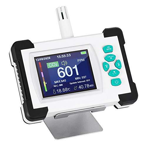 HUKOER CO2-Detektor 0-9999PPM Kohlendioxid-Messgerät, Handheld relative Luftfeuchtigkeit Kohlendioxid-Messgerät, Haushalt und Landwirtschaft Hochpräzise Professionelle CO2-Konzentration