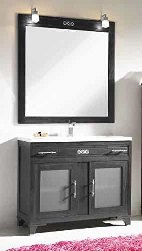 ARTEMA Mueble de baño con Lavabo y Espejo con luz (80 CM). 1 cajón y 2 Puertas. Estilo clásico, Color Ceniza. Mod. Hermes