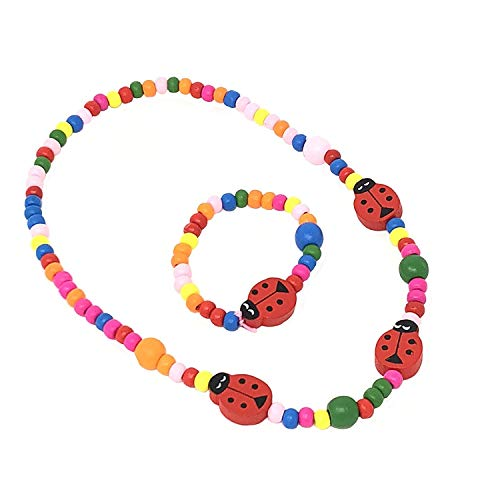 CHILDRENS Ladybird Beaded Necklace and Bracelet Set - PARTY bag fillers, stocking fillers, gifts for little girls by INCA