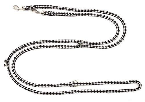 elropet Hundeleine f. kleine Hunde Doppelleine 2,80m 4fach verstellbar schwarz-grau