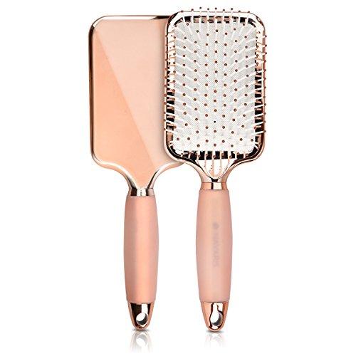 Navaris Haarbürste Rosegold mit Gel Griff - Paddle Brush für kurze & lange Haare - Zum Bürsten Föhnen - Haar Bürste in Rose Gold Metallic