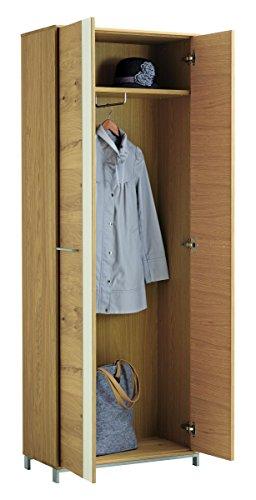 Voss 6-teiliges Garderoben-Set 2 VEDO | In Balkeneiche furniert mit Absetzungen in Mattglas Weiß