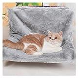 Yuchang LLPing Cama de Gato Ventana removible Albaco Gato Radiador Salón Hamaca para Gatos Kitty Cama Colgante Cojinete Carrible Casera Mascota Asiento Hamaca (Color : Gray, Size : L 46x30x25 cm)