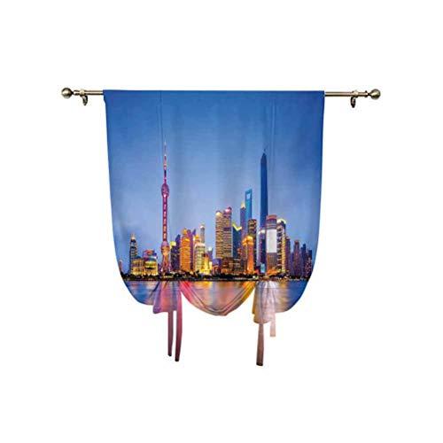 Cortina urbana con lazos, horizonte de la ciudad de Shanghai China en el río Huangpu, famoso destino de viaje de destino ajustable, cortina de globo, 60 x 107 cm, para ventana de baño, azul y amarillo