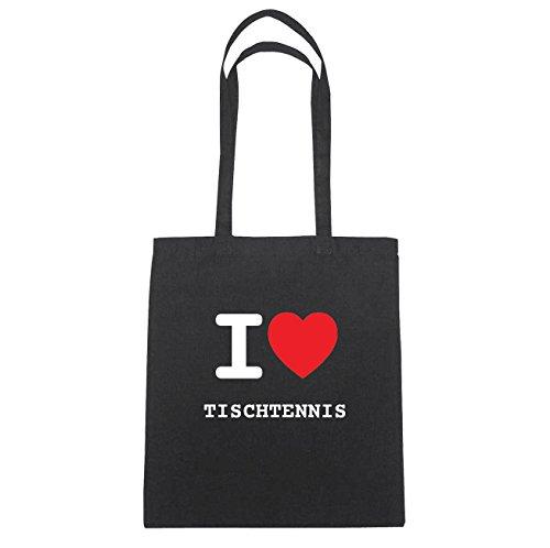 JOllify TISCHTENNIS Baumwolltasche Tasche Beutel B6258black - Farbe: schwarz: I love - Ich liebe