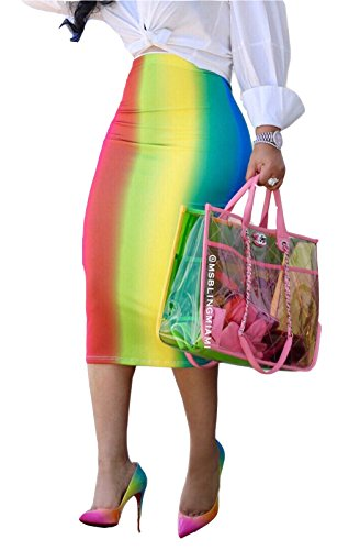 MarcoJudy Womens Rainbow Striped Tie Dye High Waist Bodycon Midi Pencil Skirt