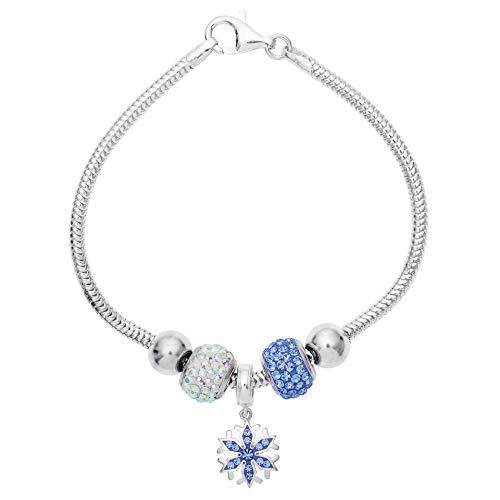 "Disney Frozen Snowflake and Crystal Beads Sterling Silver Bundle Bracelet, 7.5"""