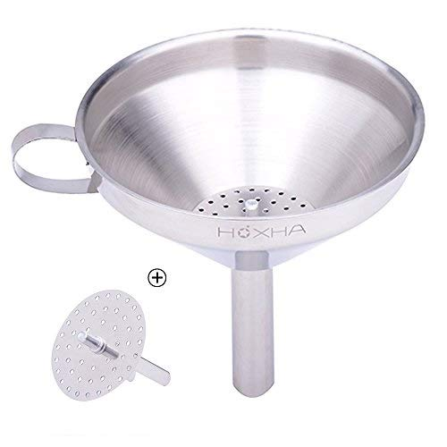 Stainless Steel Kitchen Funnel with Removable Strainer/Filter for Essential/Cooking Oils, Food Grade Metal Funnels for Transferring of Liquid, Fluid, Dry Ingredients & Powder, 5- Inch, HOXHA (5 Inch)