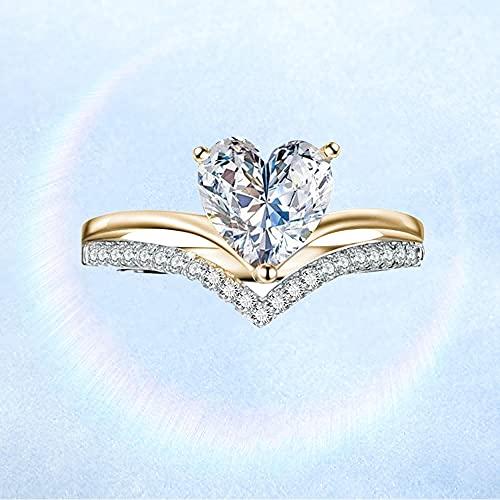 Clmcsf Anillo de Compromiso de Princesa Personalizado con Diamantes de circonita en Forma de corazón para Mujer, Anillo de Diamantes en Forma de corazón para Mujer, Anillos(Gold5)