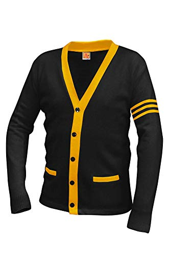 Averill's Sharper Uniforms Unisex 5-Button V-Neck with Contrasting Trim Varsity Cardigan, XL, Black/Old Gold