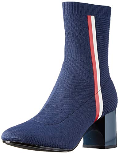 Tommy Hilfiger Damen Knitted Heeled Boot Stiefeletten, Blau (Midnight 403), 38 EU