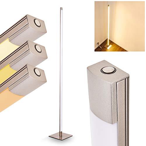 LED-bodemlamp Playa - Moderne metalen vloerlamp in mat nikkel met rechte lampenkap - vloerlamp in buitengewoon design - 3000 Kelvin - 800 lumen - met aanraakdimmer op de behuizing