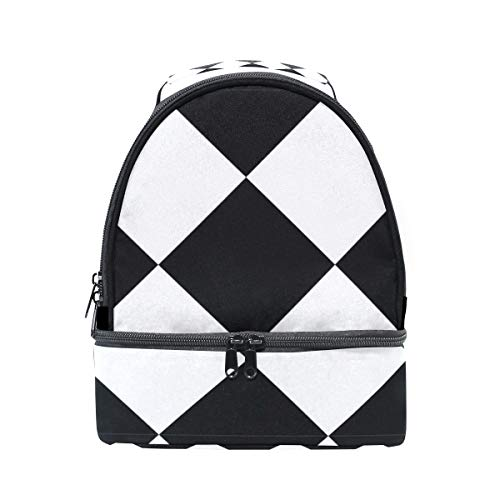 Orediy - Bolsa térmica para almuerzo, diseño geométrico, color negro y blanco
