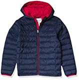 Amazon Essentials Lightweight Water-Resistant Packable Hooded Puffer Jacket Abrigo Alternativo al plumón, Azul Marino/Rojo, 6-7 años