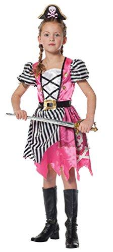 Karneval-Klamotten Piraten-Kostüm Piratin Kinder Mädchen Piratenbraut Kinderkostüm pink mit Haarreif Piratenhut Kind Karneval