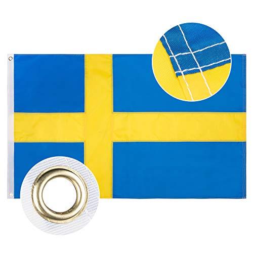 Lixure Schweden Flagge/Fahne 90x150cm Top Qualität Europa Länder Nationalflaggen - Durable 210D Nylon Draußen/Drinnen Dekoration Flagge MEHRWEG
