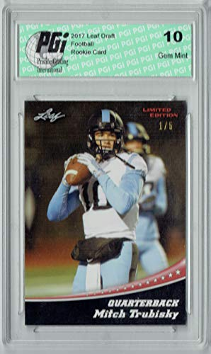 Mitchell Trubisky 2017 Leaf #11 Red SP, The #1 of 5 Made Rookie Card PGI 10
