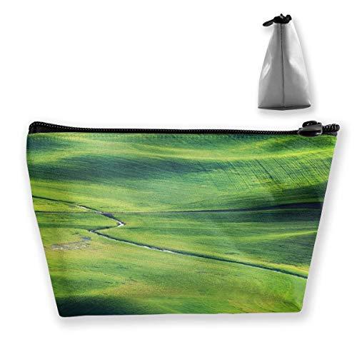 DJNGN Die Prairie River Schminktasche Große trapezförmige Aufbewahrung Reisetasche Waschen Kosmetikbeutel Stifthalter Reißverschluss Wasserdicht