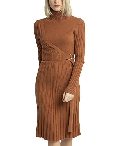 APART Elegantes Damen Kleid, Strick-Kleid, mit Kaschmir-Anteil, Wickel-Optik, Rollkragen